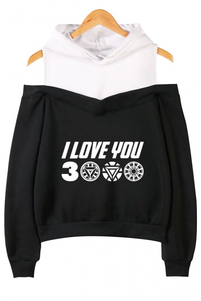 Trendy Letter I Love You 3000 Cold Shoulder Fake Two-Piece Casual Loose Hoodie