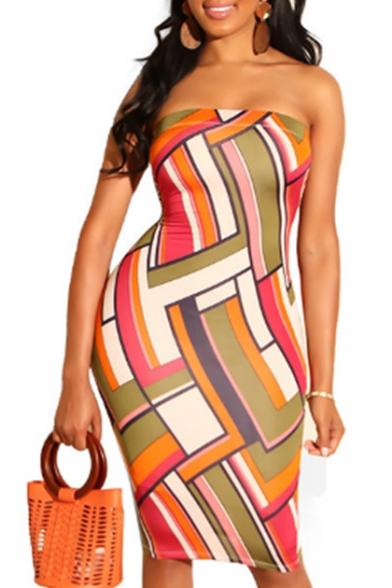 Women's Fashion Geometric Print Off The Shoulder Sleeveless Midi Pencil Dress