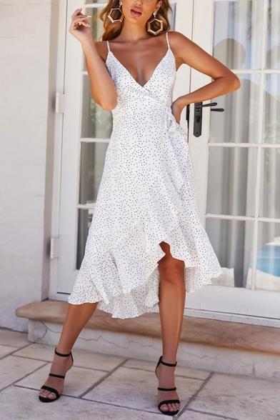 Women's New Trendy Polka Dot Printed V-Neck Sleeveless Ruffle Detail Backless Bow-Tied Waist Midi Cami White Dress