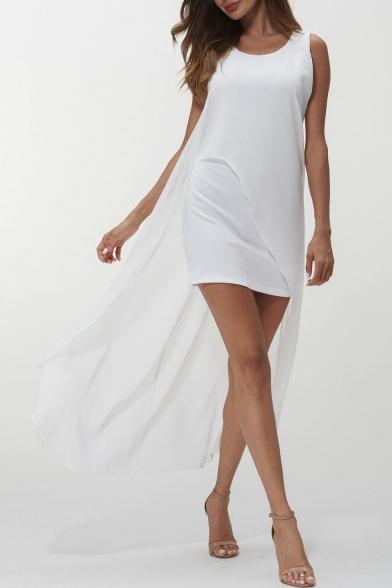 Women's New Trendy Sleeveless Scoop Neck Plain Print Asymmetric Hem Maxi Tank Dress