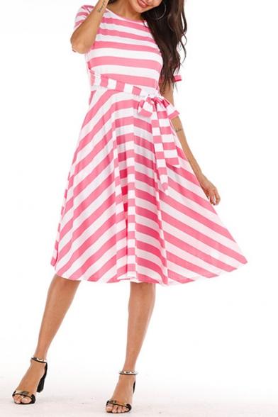 Women's New Trendy Striped Printed Round Neck Short Sleeve Bow-Tied Waist Midi A-line Dress