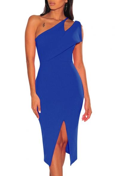 Women's Sexy Cutout One Shoulder Sleeveless Plain Slit Midi Bodycon Jersey Dress