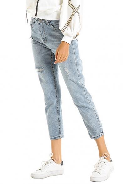 Womens Classic Fit Ripped Detail Light Blue Capri Denim Jeans