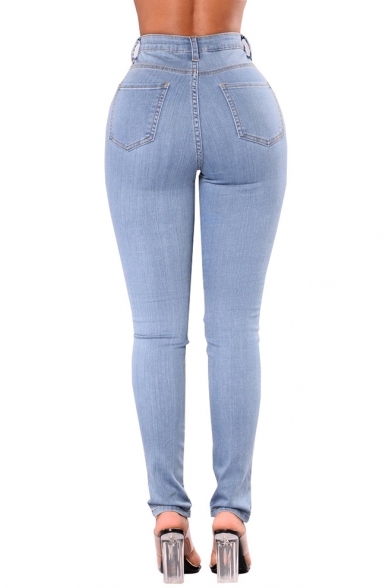 Womens Cool Stylish Eyelet Lace-Up Cutout Light Blue Skinny Fit Jeans