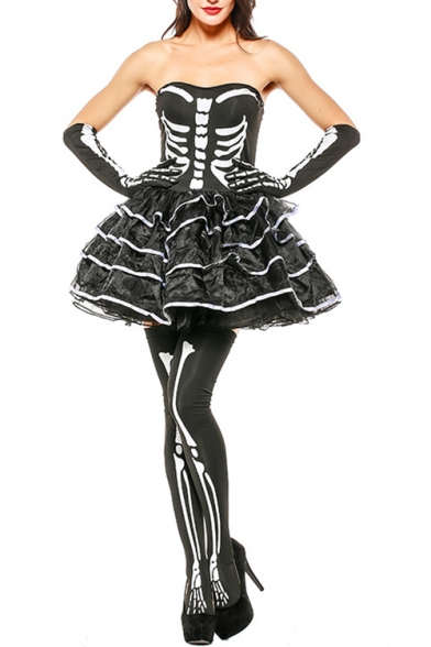 Womens Halloween Black Scary Monster Skull Skeleton Three-Piece Party Dress Mini Cosplay Costume Tutu Dress