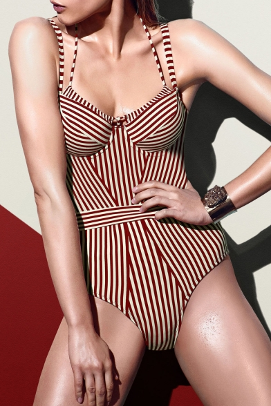 Womens New Stylish Red Striped Printed Strappy Slim Fit One Piece Swimsuit Swimwear