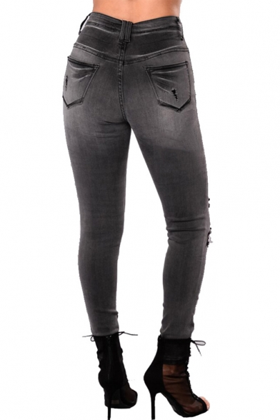 Womens Retro Smoke Grey Fashion Destroyed Ripped Skinny Fit Jeans