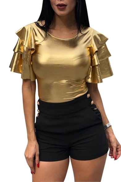 Womens Unique Awesome Metallic Color Round Neck Layered Ruffled Sleeve Gold Nightclub T-Shirt