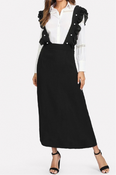 Womens Unique Ruffled Strap Solid Color Maxi Black Pinafore Skirt