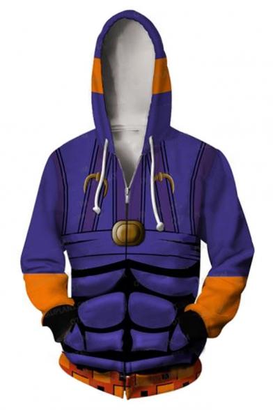 Fashion 3D Printed Long Sleeve Sport Loose Zip Up Purple Hoodie