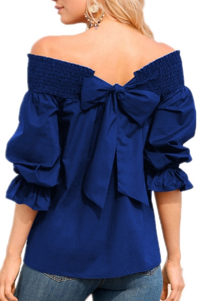 Basic Simple Plain Chic Bow-Tied Back Sexy Off the Shoulder Ruffled Sleeve Blouse Top