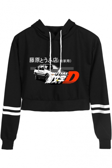 Car Letter Fujiwara Tofu Shop Print Striped Long Sleeve Loose Fit Crop Hoodie