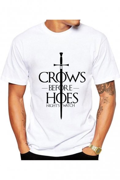 Cool Sword Letter CROWS BEFORE HOES Print Short Sleeve White Graphic Tee
