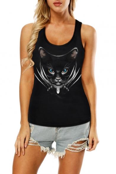 Cute Cartoon Cat Printed Scoop Neck Hollow Out Back Sleeveless Slim Black Tank Top