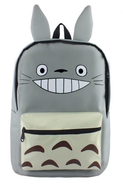 Cute Cartoon Totoro Printed Ear Patched Grey School Bag Backpack