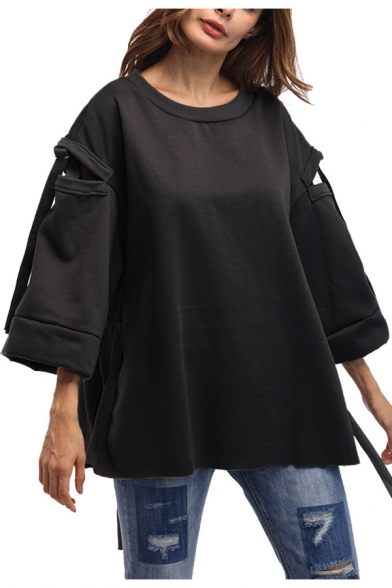 Dark Grey Solid Color Round Neck Hollow Out Tied Bell Sleeve Casual Loose Sweatshirt