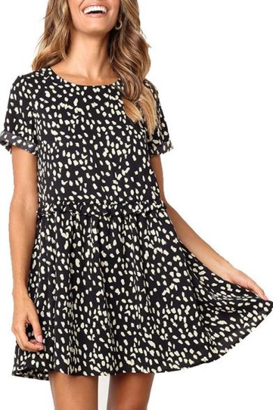 Fashion Polka Dot Printed Round Neck Short Sleeve Ruffled Hem Mini Smock Dress