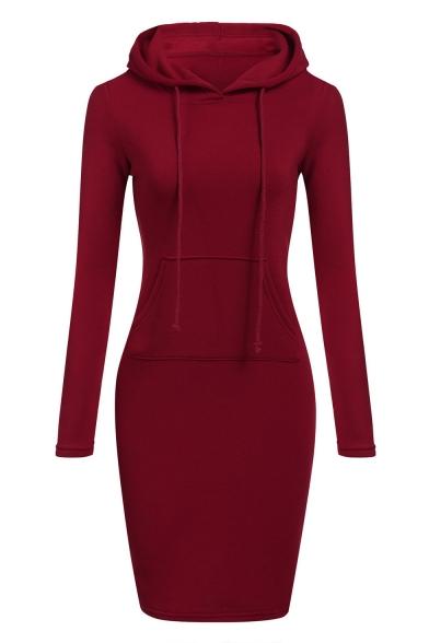 Fashion Solid Color Drawstring Hood Long Sleeve Pocket Midi Sweatshirt Dress