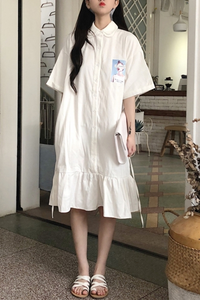 Girls Summer Chic Layered Lapel Collar Short Sleeve Button Down Midi Ruffled Shirt Dress