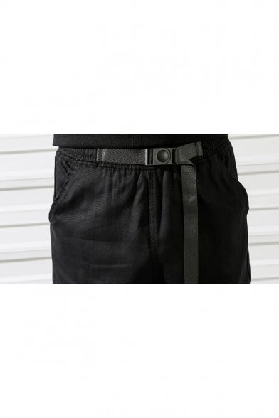 Guys Street Fashion Simple Plain Black Fitted Cargo Pants