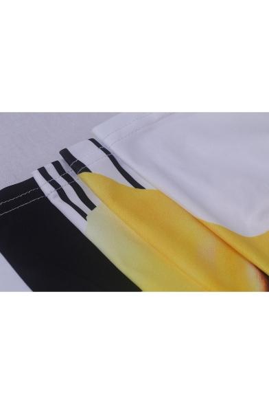 Hot Fashion Spaghetti Straps Sleeveless Floral Stripes Printed Pockets Detail Maxi Slip Yellow Dress