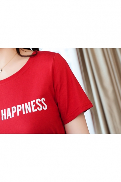 Letter PINK FOR HAPPINESS Printed Round Neck Short Sleeve Tied Waist Dipped Hem Midi A-Line T-Shirt Dress
