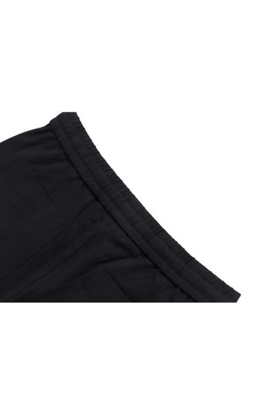 Mens Basic Simple Plain Drawstring Waist Loose Casual Straight Pants