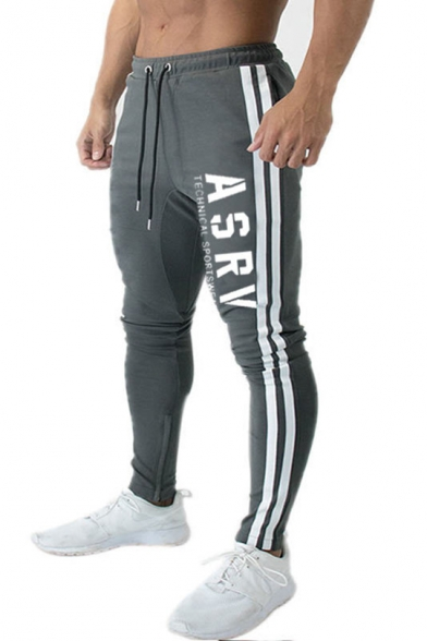 Mens Outdoor Fashion Simple Letter ASRV Striped Side Drawstring Waist Slim Fit Running Pencil Pants