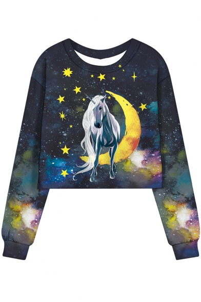 Navy Galaxy Moon Star Unicorn Printed Round Neck Long Sleeve Cropped Sweatshirt