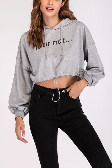 New Fashion Women's FEAR NOT Letter Print Drawstring Waist Long Sleeve Casual Cropped Hoodie