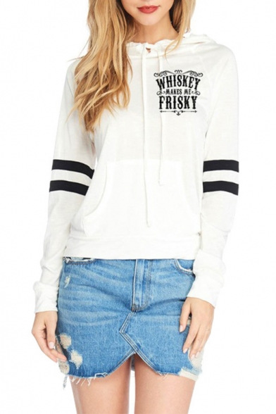 Simple Letter WHISKEY Printed Striped Long Sleeve White Basic Hoodie