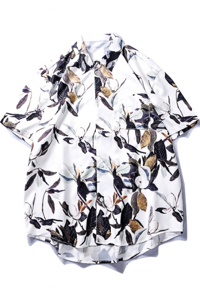 Summer Cool Hawaiian Leaf Pattern Casual Loose White Cotton Beach Shirt