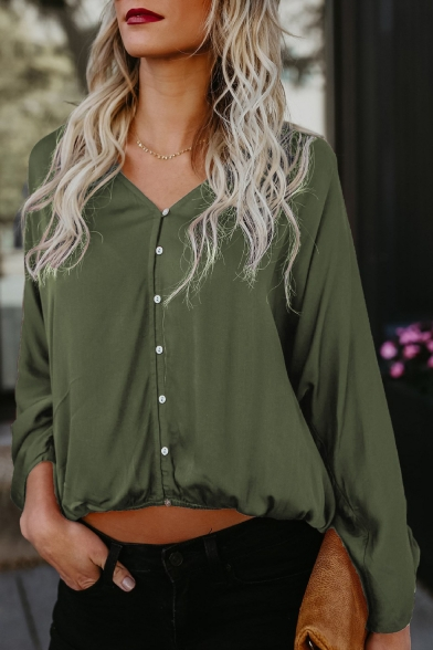 Summer Cotton Loose Basic Simple Plain V-Neck Long Sleeve Button Down Blouse Top