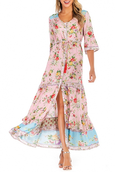 Summer Holiday Bohemian Style Floral Printed Button Down Maxi Flowy A-Line Dress