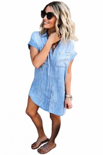 Summer New Fashion Basic Simple Plain Light Blue Short Sleeve Button Front Mini Denim Dress