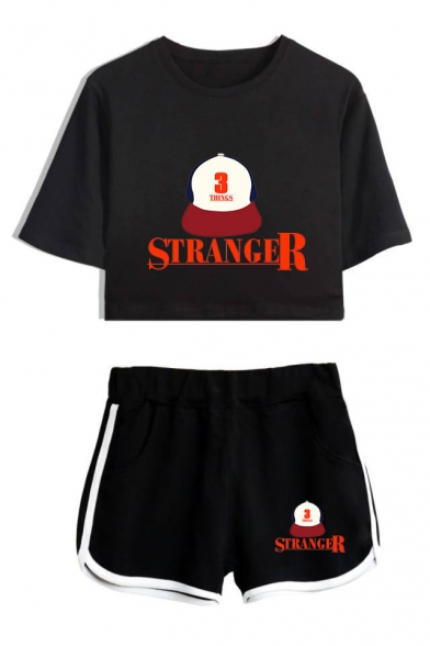Summer Popular Stranger Things Letter Hat Print Crop Tee Loose Fit Shorts Sport Two-Piece Set, Color 1;color 2;color 3;color 4;color 5;color 6;color 7;color 8, LM537543
