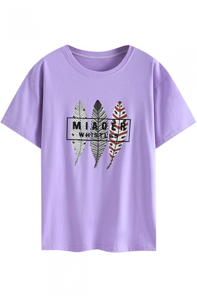 Summer Simple Leaf Letter Printed Round Neck Short Sleeve Casual Loose Cotton T-Shirt