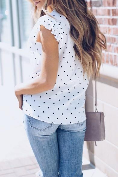 Summer Trendy Polka Dot Printed Flutter Sleeve Button Down White Shirt Blouse