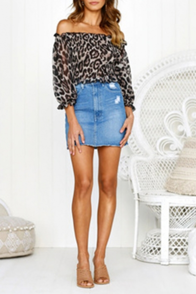 Trendy Leopard Printed Off the Shoulder Chiffon Blouse Top