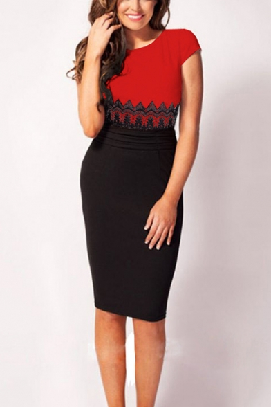 Baycheer / Women's Colorblock Lace Patched Round Neck Cap Sleeve Midi Pencil Dress