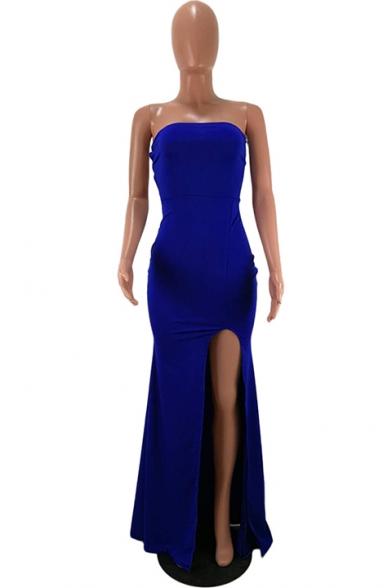 Women's Elegant Off The Shoulder Sleeveless Plain Split Detail Maxi Bodycon Navy Dress