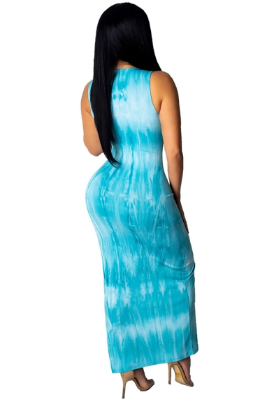 Women's Elegant Round Neck Sleeveless Tie-dye Printed Split Side Maxi Tank Blue Dress