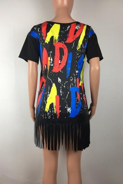 Women's Fashion One Shoulder Short Sleeve Letter Print Tassel Hem Mini Black Shift Dress