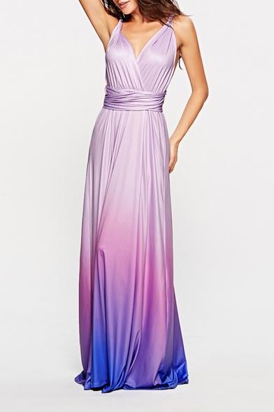 Women's Hot Fashion Convertible V-Neck Sleeveless Ombre Printed Backless Maxi Slip Dress