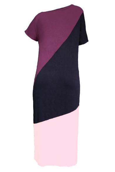 Women's One Shoulder Short Sleeve Colorblock Printed Split Side Casual Maxi Shift Pink Cotton Dress