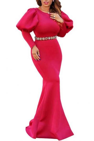 Women's Limo Round Neck Long Sleeves Plain Embellished Belt Detail Floor Length Bodycon Dress
