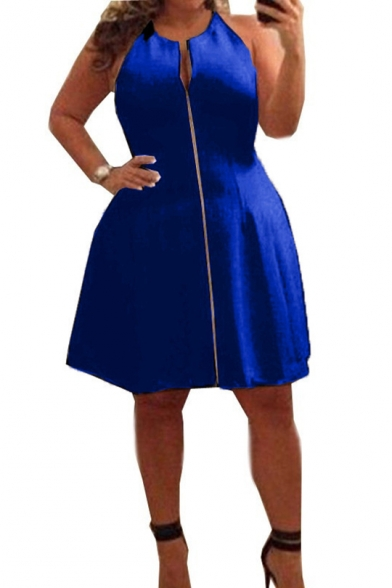 Women's Plus Size Summer Fashion Zipper Front Round Neck Sleeveless Mini A-Line Dress