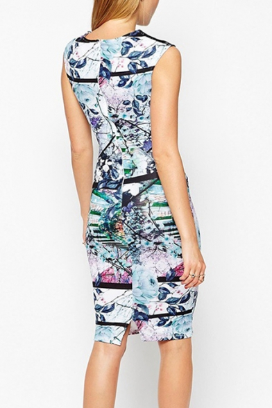 Womens Chic Stylish Floral Painting Round Neck Sleeveless Midi Pencil Dress