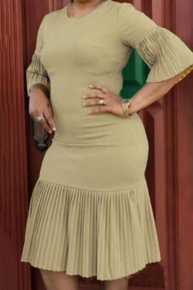 Womens Plus Size Simple Plain Round Neck Ruffled Sleeve Midi Bodycon Pleated Dress
