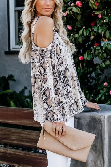 Womens Sexy Cutout V-Neck Cold Shoulder Long Sleeve Snake Skin Print Chiffon Blouse Top